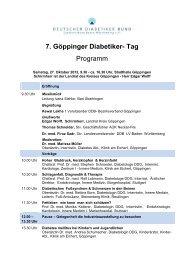 7. Göppinger Diabetikertag Programm - Deutscher Diabetiker Bund ...