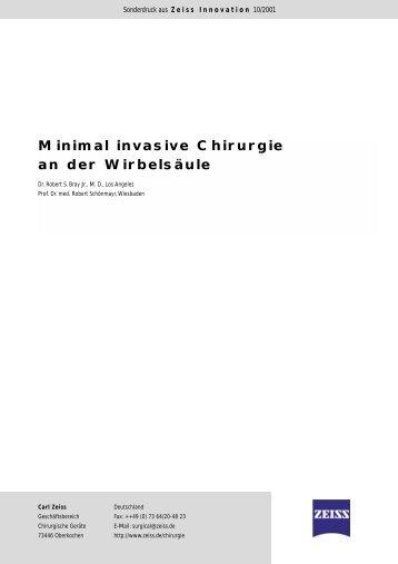 Minimal invasive Chirurgie an der Wirbelsäule - Carl Zeiss, Inc.