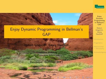 Enjoy Dynamic Programming in Bellman's GAP