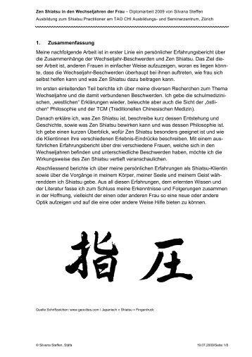 1. Zusammenfassung Meine nachfolgende Arbeit ... - Shiatsu am See