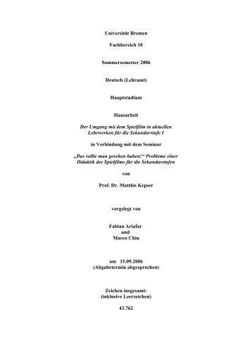 Fabian Ariafar und Marco Chiu - Fachbereich 10 - Universität Bremen