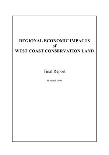 Regional Economic Impacts of West Coast Conservation Land