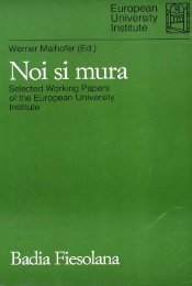 Noi si mura Selected Working Papers of the European University ...
