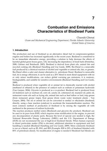 Combustion and Emissions Characteristics of Biodiesel Fuels - InTech