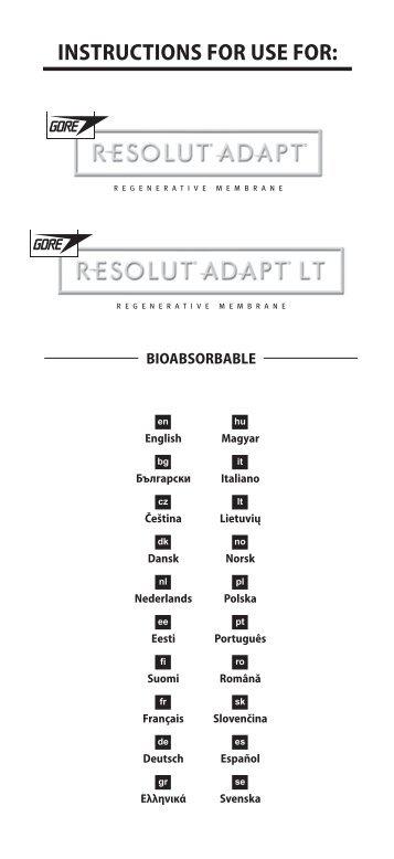 GORE RESOLUT® ADAPT® Regenerative ... - Gore Medical