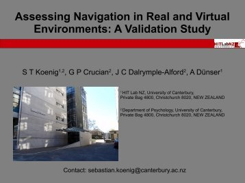 Assessing Navigation in Real and Virtual ... - Virtual Game Lab