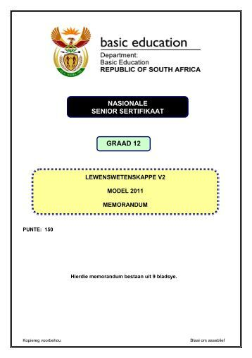 NASIONALE SENIOR SERTIFIKAAT GRAAD 12 - Curriculum