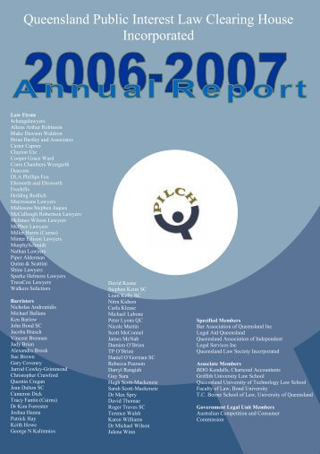 Annual Report 2006 - 2007 (PDF 1012KB) - qpilch