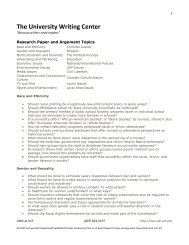 Research Paper and Argument Topics - University Writing Center