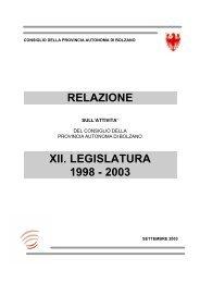 RELAZIONE XII. LEGISLATURA 1998 - 2003 - Consiglio della ...