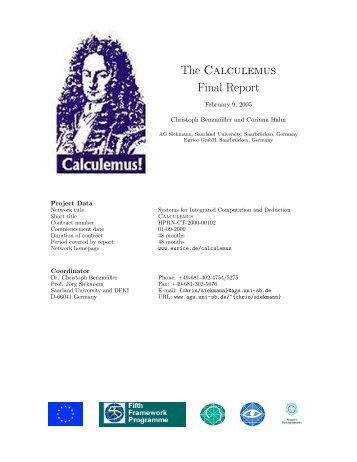 Calculemus - Prof. Jörg Siekmann - Universität des Saarlandes