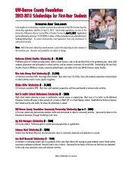 2012-2013 UW-Barron County Foundation Scholarships for