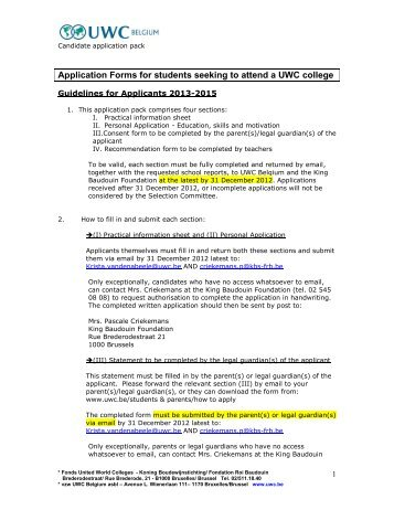 Application Forms for students seeking to attend a UWC College