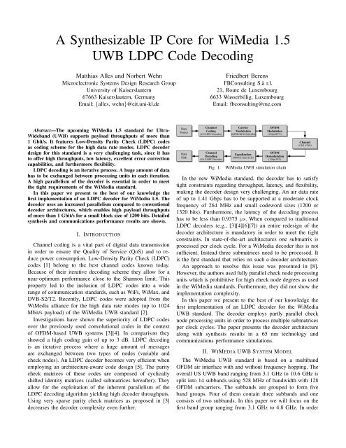 A Synthesizable IP Core for WiMedia 1.5 UWB LDPC Code Decoding