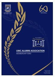 Membership Form - University of the Western Cape