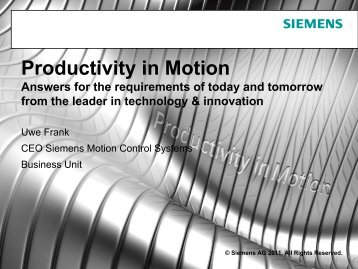Presentation Uwe Frank: Productivity in Motion - Siemens