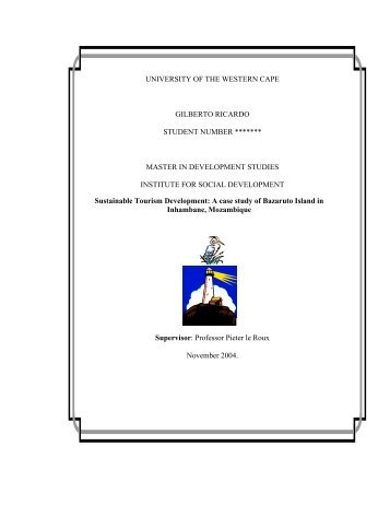 Sustainable tourism development... - Electronic Thesis and ...