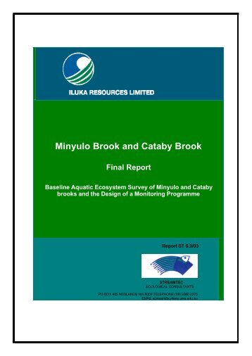Final Report Cataby & Minyulo Bks - Environmental Protection ...