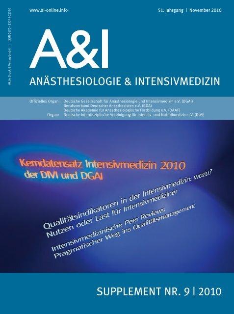 Kerndatensatz der Intensivmedizin 2010 der DIVI und DGAI