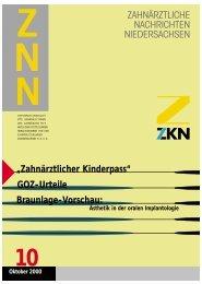 Zahnärztlicher Kinderpass - Zahnärztekammer Niedersachsen