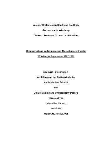 Aus der Urologischen Klinik und Poliklinik der Universität Würzburg ...