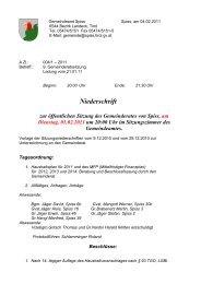 Niederschrift zur öffentlichen Sitzung des Gemeinderates von Spiss ...