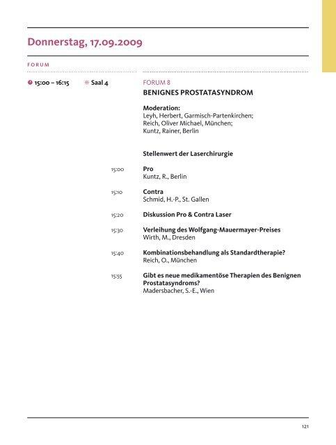 Programmübersicht Donnerstag, 17.09.2009 - DGU-Kongress