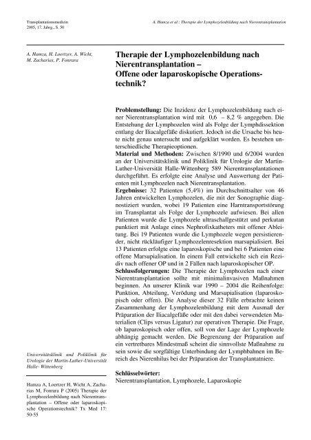 Therapie der Lymphozelenbildung nach Nierentransplantation ...