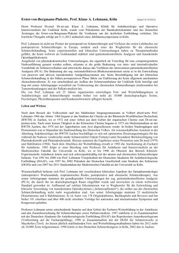 Ernst-von-Bergmann-Plakette, Prof. Klaus A. Lehmann, Köln