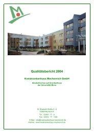 Qualitätsbericht 2004 Kreiskrankenhaus Mechernich GmbH