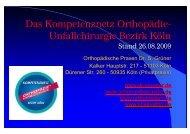 Das Kompetenznetz Orthopädie- Unfallchirurgie Bezirk Köln