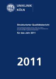 Uniklinik Köln - Strukturierter Qualitätsbericht 2011 - Zentralbereich ...