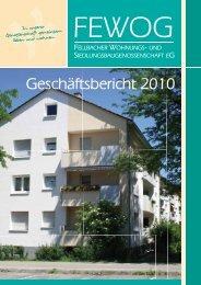 3. Anhang des Jahresabschlusses 2010 - FEWOG Fellbach