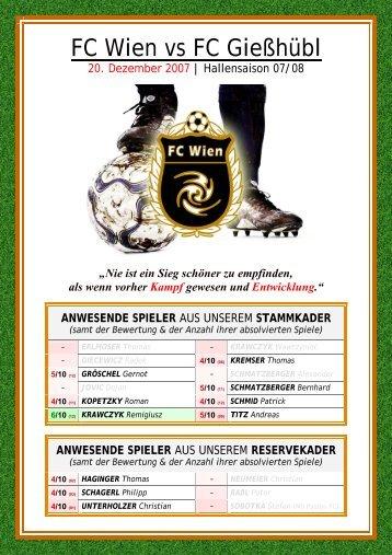 ANWESENDE SPIELER - FC Wien