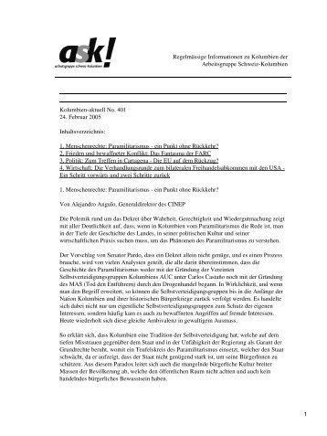 Kolumbien-aktuell No. 401 / 24. Februar 2005 - ask! Arbeitsgruppe ...