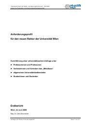 Anforderungsprofil für den neuen Rektor der Universität Wien ...