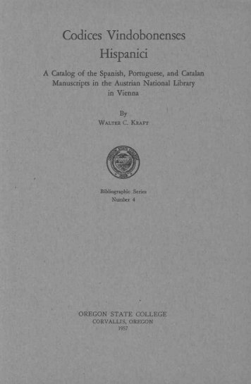 Codices Vindobonenses - ScholarsArchive at Oregon State University