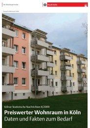 Kölner Statistische Nachrichten 6/2009: Preiswerter ... - Stadt Köln