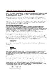 Allgemeine Informationen zur Wohnungssuche - Verwaltung