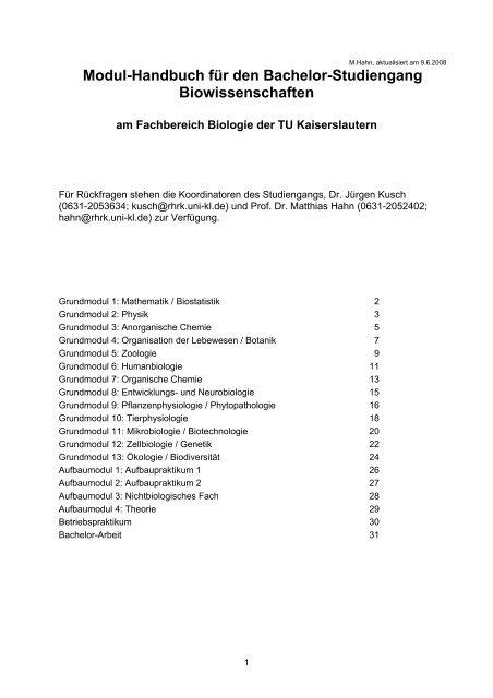 Modulhandbuch (bisheriger Studiengang) - Biologie in Kaiserslautern