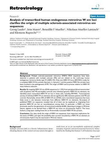 Analysis of transcribed human endogenous retrovirus W env loci ...