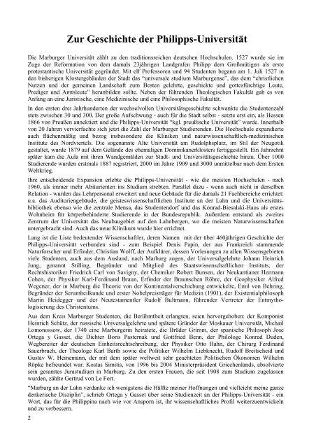 Zur Geschichte Der Philipps Universität