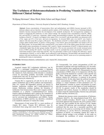The Usefulness of Holotranscobalamin in ... - Bentham Science