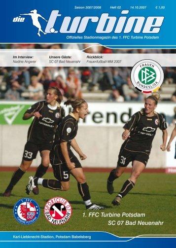 Kalender 2008 15 € Der neue Fanschal - 1. FFC Turbine Potsdam