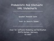 Probabilistic And Stochastic UML Statecharts - Software Modeling ...