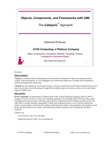 Objects, Components, and Frameworks with UML The Catalysis ...