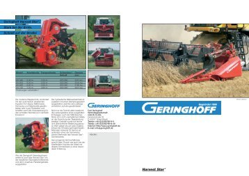Geringhoff Harvest Star*. Innovatives Antriebskonzept. Ohne ...
