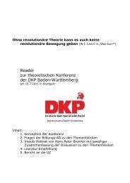 Reader zur theoretischen Konferenz der DKP Baden-Württemberg