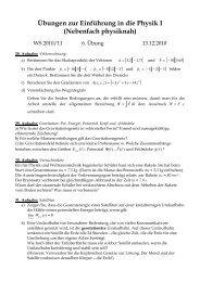 Übungen zur Einführung in die Physik I (Nebenfach physiknah)