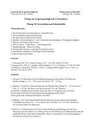 Übung zur Experimentalphysik I (Chemiker) Übung 10: Gravitation ...